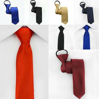 Mens Charm Slim Easy Zip Suit Tie Silk Necktie Solid Skinny Business Party Work
