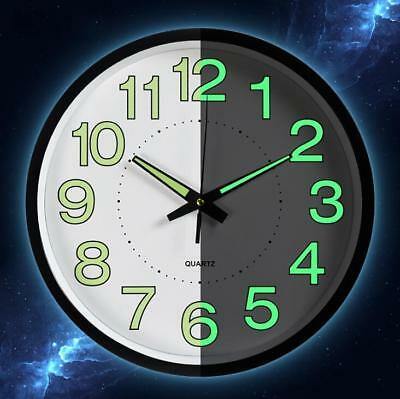 Wall Clock Quartz Sweep Second No Ticking Noise Kitchen Nursery Kids Luminous
