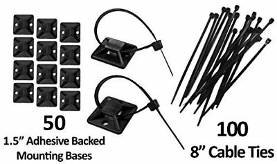 """1.5"""" Adhesive Backed Mounting Bases with 8"""" Cable Ties - Black"""