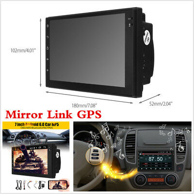 """Quad Core Android 6.0 WIFI 7"""" 2DIN Car Radio Stereo GPS SAT Nav Bluetooth TMPS"""