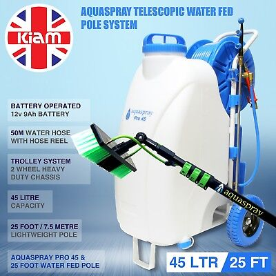 25ft Telescopic Water Fed Pole & 45L Spray Tank Window Cleaning Trolley System