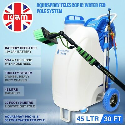 30ft Telescopic Water Fed Pole & 45L Spray Tank Window Cleaning Trolley System