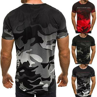 Men's Slim Fit O Neck Short Sleeve Muscle Tee Shirts Casual T-shirt Tops Blouse!