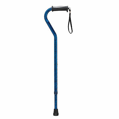 Drive Medical Adjustable Height Offset Handle Cane with Gel Hand Grip, Blue C...