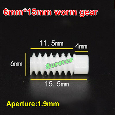 5PCS 6*10mm/6*15mm Lengthened plastic Worm Gear 0.5 Modulus 2mm Aperture DIY Toy