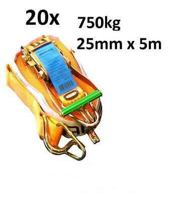 NEW 20xPACK OF 25MM x 5M 750KG AS4380 TIE DOWN RATCHET STRAP HEAVY DUTY