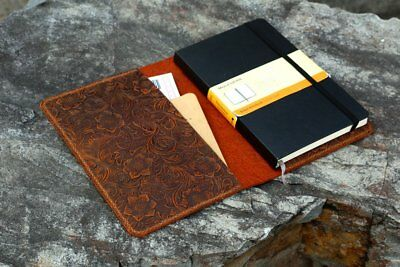 Women embossing flower real Leather cover for moleskine classic notebook