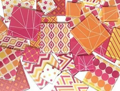 Orange & Pink Themed Handmade Mosaic Tile Set | Mosaic Art Craft Supplies
