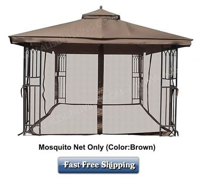 Gazebo Mosquito Netting Curtain Rings Included Universal 10x12 Brown Plastic