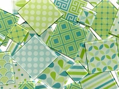 Green & Blue Themed Handmade Mosaic Tile Set | Mosaic Art Craft