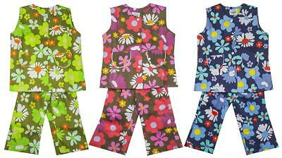Girls Vintage Daisy Flower Power Tunic Flare Trouser Suit 6 Months to 3 Years
