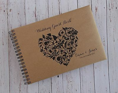 A5 Personalised Guest Book Vintage Rustic Heart in Box + Optional Sign