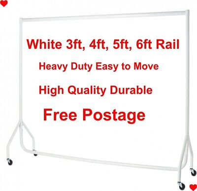 ❤ WHITE HEAVY DUTY 3ft,4ft,5ft,6ft Garment Clothes Rails Hanging Shop Displays ❤
