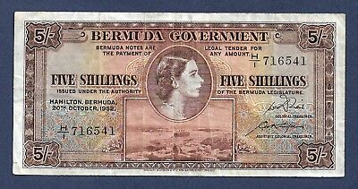 [AN] QEII Bermuda 5 Shillings 1952 First Date Issue P18a Fine+/VF