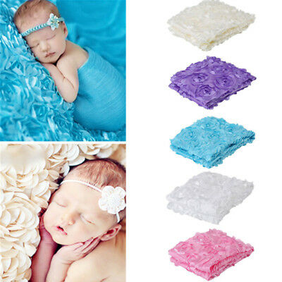 Cute- Newborn Baby Photography Props Rose Flower Backdrop Blanket Rug Photoshoot
