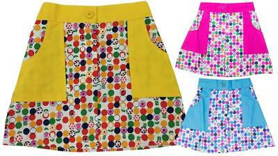 Girls Authentic Vintage Geometric Daisy Spot A-Line Hippy Mini Skirt 2 - 5 Years