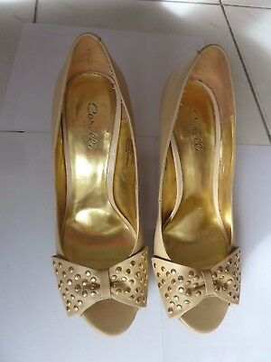 Corelli Beige Leather Upper Peep Toe With Studded Bows Stiletto Shoes - Size 10