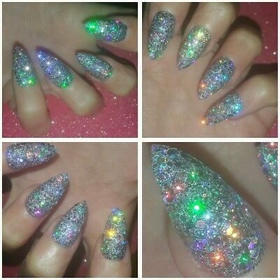 PARTY NAILS BLING Pure Holographic Silver Stiletto Nails X 20 Sparkly Glitter