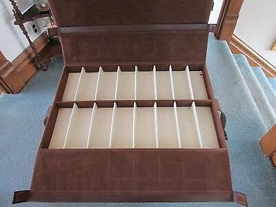 "Salesman sample case 5 tray suite case type w/ felt covering Used 21""x13""x9"""