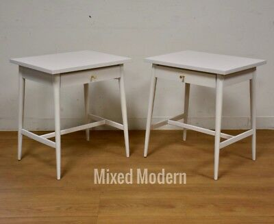 2 White Lacquer Paul McCobb Nightstands Planner Group Mid Century Modern