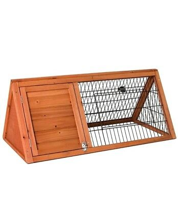 New Pet Rabbit Hutch Triangle Wooden Cage Guinea Pig Bunny Run Animal House Home