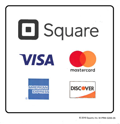 "New Square Credit Card Reader Decal Window Sticker 2.75"" X 2.75""  Double Sided"