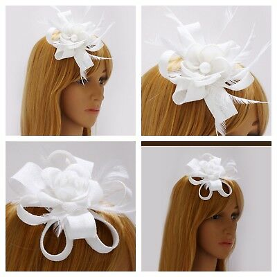White Fascinator Brooch Clip Headband Feather Flower Wedding Ladies Day Races