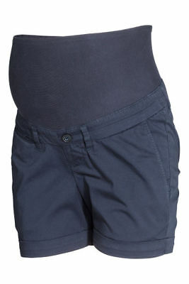 H&m Mama Navy Over Bump Chino Safari Shorts Size 12 Bnwt