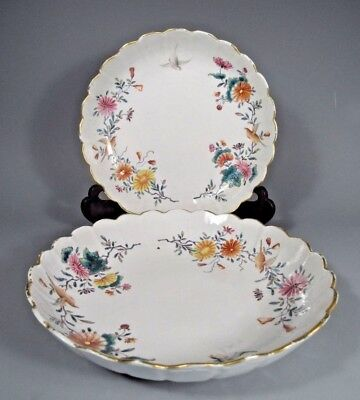 Pair Chinese Porcelain Plates scalloped rims birds & flowers Qianlong ca 18th c.
