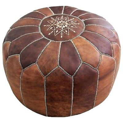 Phenomenal Genuine Luxury Moroccan Leather Pouf Handmade Ottoman Pouffe Ncnpc Chair Design For Home Ncnpcorg