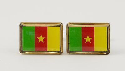 Cameroon Flag Cufflinks--Cameroonian West African Africa British French