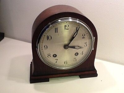 Vintage Art Deco Oak Cased Empire Mantel Clock,Silvered Dial,for Spares/Repair