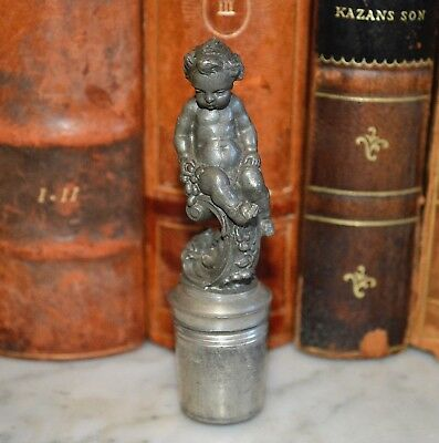 Rare Antique French Cherub Finial Pewter Decanter Wine Bottle Stopper