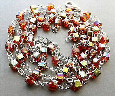 Orange glass crystal cube bead necklace . silver plated square jewellery