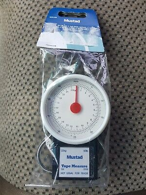 New in Package Mustad 50lb MSTD-52A Dial Fish Scale With Tape Measure