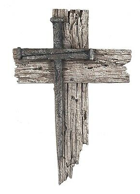 Nail Wall Cross Plaque Rustic Wood Shabby Chic Christian Housewarming Gift NEW
