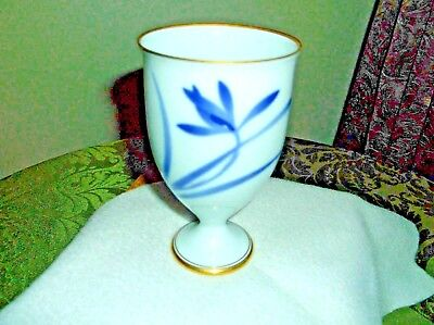 Antique porcelain Chinese Stem Cup Blue&White,Blue Flower ,Gold Trim