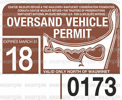 Nantucket Oversand Vehicle Permit Sticker Decal 2018 ACK Beach Permit