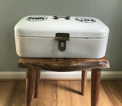 Antique Porcelain Enamel Bread Box with Brass Latch and Hinges *RARE*