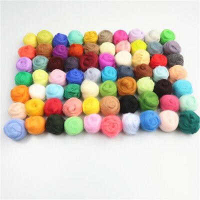 70 Colors Fibre Wool Roving For Needle Felting Spinning Craft Material Set