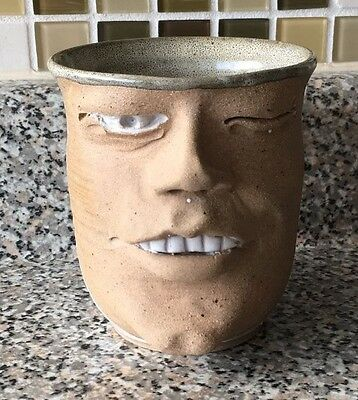 Pottery Face 3D One Eye Wink Teeth Nose Handle Mug Cup Signed Pottery