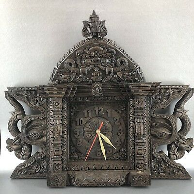 "21"" Thai Wood Panel Hand Carved Wall Clock Asian Oriental Thailand Wooden Art"
