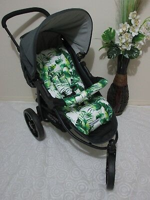 Handmade pram liner set-Large tropical leaves-100% cotton,universal*Funky babyz