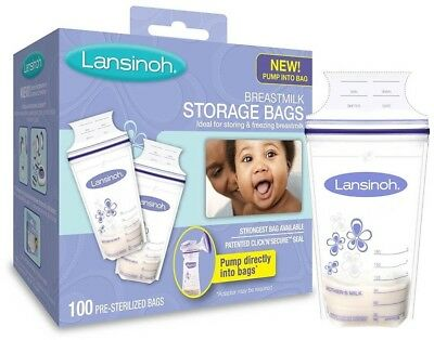 Lansinoh Breastmilk Storage Bags, 100 Count, BPA Free and BPS Free (Packaging