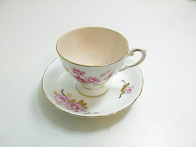 Vintage Tuscan Bone China England Cup And Saucer Set Pink Flowers / Pink Inside