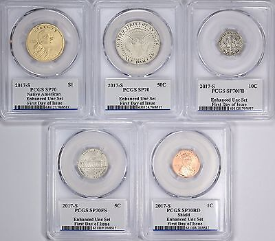 2017 S 225th Anniversary Enhanced Unc PCGS SP70 10 Coin Set Denver 1st Day Issue