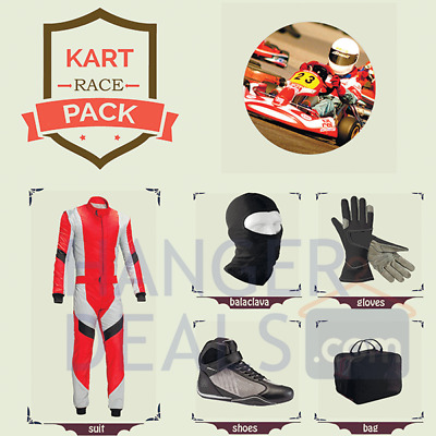Go Kart Race suit (includes Suit, Gloves,Balaclava & Shoes)free bag- red design