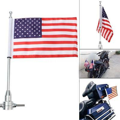 Motorcycle AMERICAN USA Flag Pole Luggage Rack Mount For Harley For Honda New