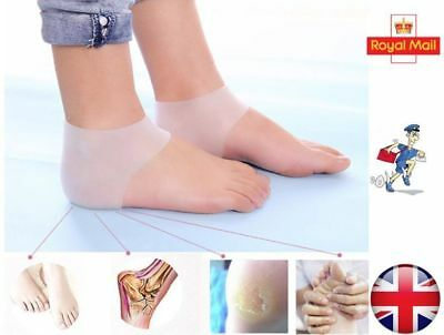1 Pair Silicone Gel Heel Protector Sock Pain Relief Anti-cracking Cushion Pad UK