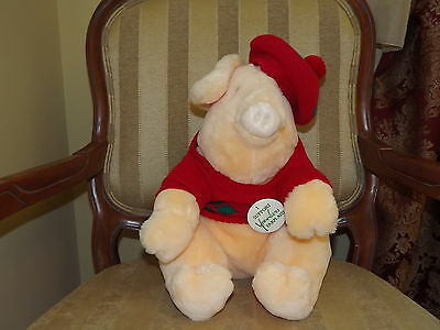 1987 Vintage Younkers Francesca Hoerlein Plush Pig With Plaid Sweater& Beret